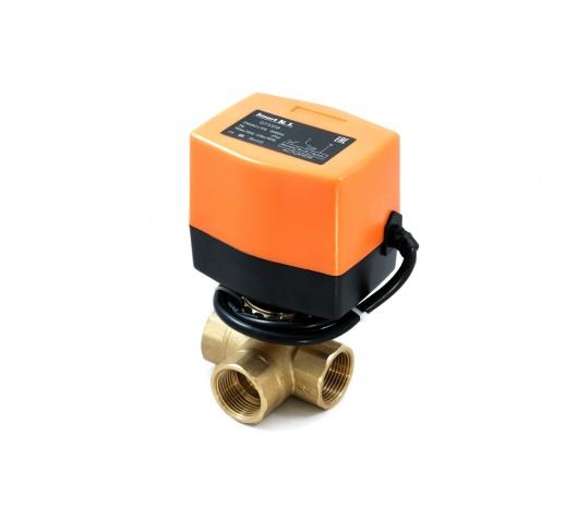 Кран шаровый QT-330834 трехходовой с электроприводом DN 25 AC 220V