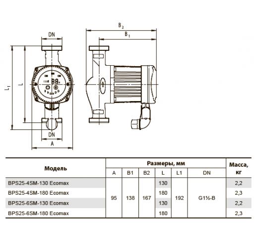 """Циркуляционный насос BPS25-6SM-130 Ecomax """"Насосы плюс оборудование"""""""