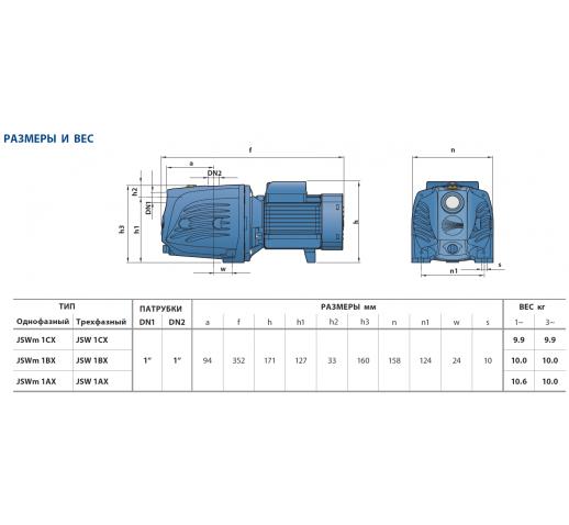 """Самовсасывающий электронасос с рабочим  колесом из технополимера JSWm 1AX-N """"Pedrollo"""""""