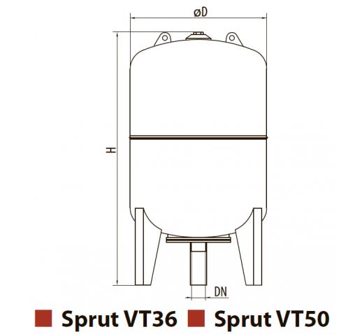 """Бак расширительный для систем отопления VT36 с ножками """"Sprut"""""""