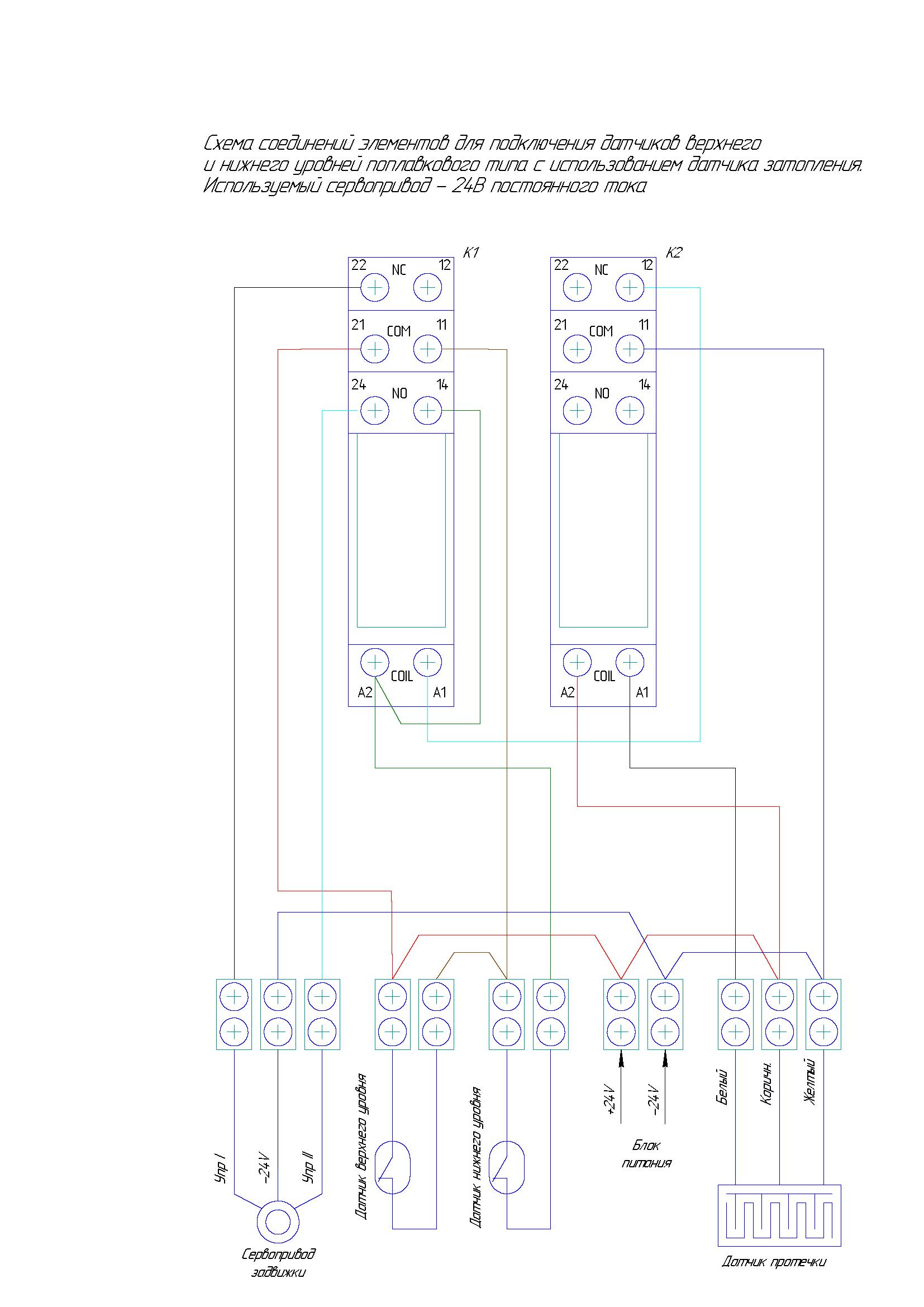 Схема подключения поплавкового датчика-выключателя: сервопривод 24 В постоянного тока